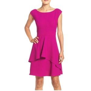 ELIZA J Fit & Flare Dress Magenta Pink Ruffle 20W